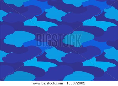Camouflage fabric dark blue color military style seamless print pattern vector illustration
