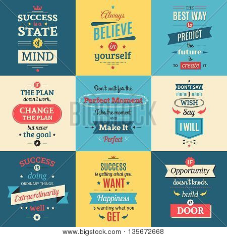 Success quotes colored isolated posters in retro style with parting words and teachings flat vector illustration