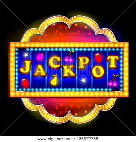 easy to edit vector illustration of Neon Light signboard for Jackpot