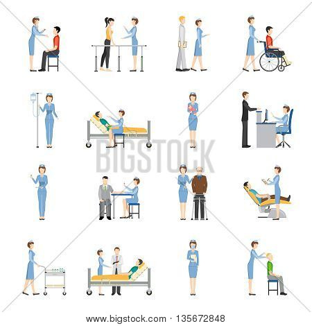 Nurse health care decorative icons set with young and old patients needing in medical help and nurses producing treatment procedures flat vector illustration