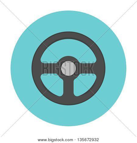 Steering wheel flat icon. Car repair service spare part