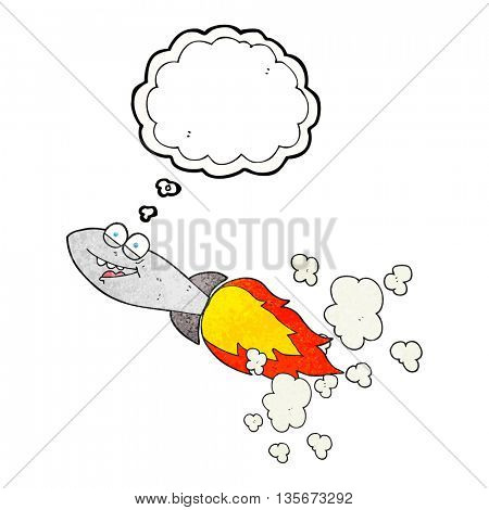 freehand drawn thought bubble textured cartoon missile