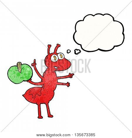 freehand drawn thought bubble textured cartoon ant with apple