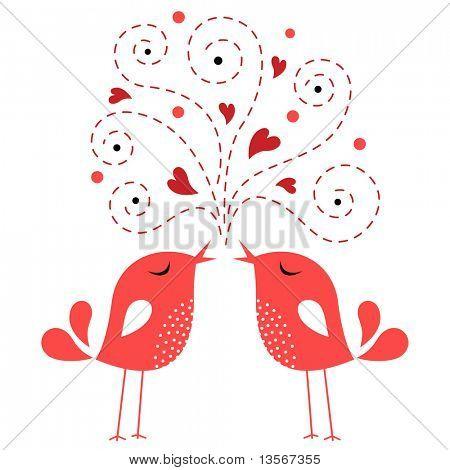 tarjeta de amor de aves