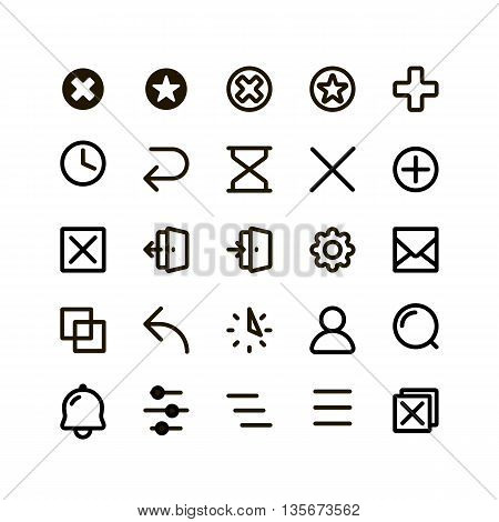 Isolated black outlined buttons vector icons set. Simple flat contoured web icons on the white background
