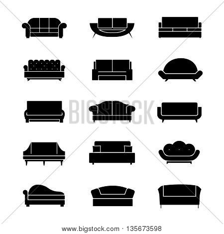 Sofas and couches furniture black vector icons. Sofa interior, couch furniture,  comfortable sofa and couches, soft couches and sofa illustration