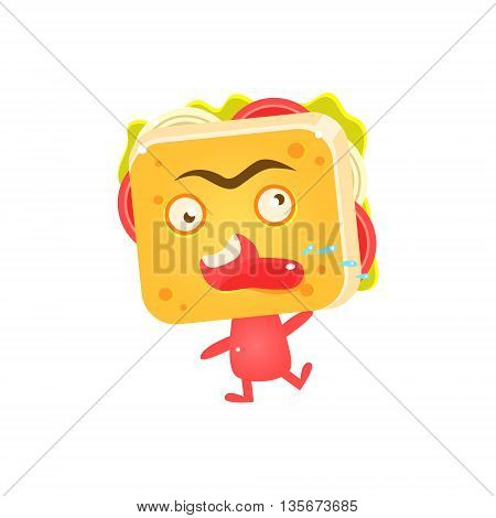 Sandwich Character Cursing Flat Childish Funny Design Vector Drawings Isolated On Dark Background