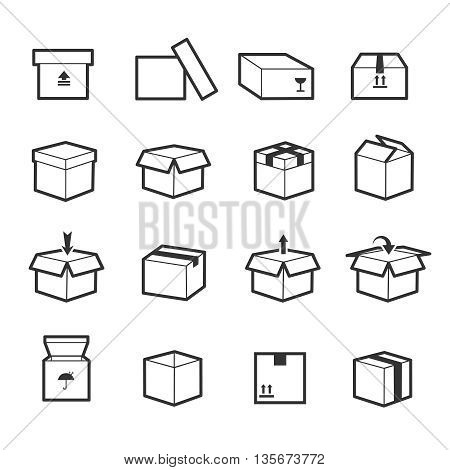 Line box vector icons. Box icon, package box, container linear box, packaging and delivery box illustration