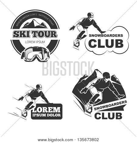 Retro ski vector emblems, badges and logos set. Ski winter badge, sport ski or snowboard, vintage logo ski, label ski outdoor illustration