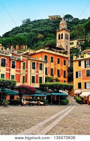 Portofino central square Piazzetta and historic architecture