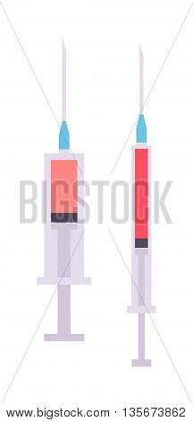 Medical tool syringe with colored liquids isolated on white vector illustration. Vaccination medicine syringe isolated and vaccination syringe isolated equipment. Syringe isolated medical equipment.