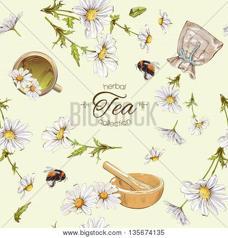 Vector herbal tea seamless pattern with chamomile flowers. Background design for tea homeopathy herbal cosmetics groceryhealth care products. Best for fabric textile wrapping paper.