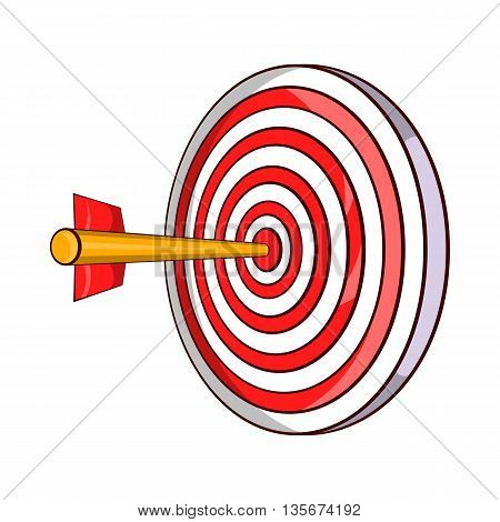 Red target and dart icon in cartoon style on a white background