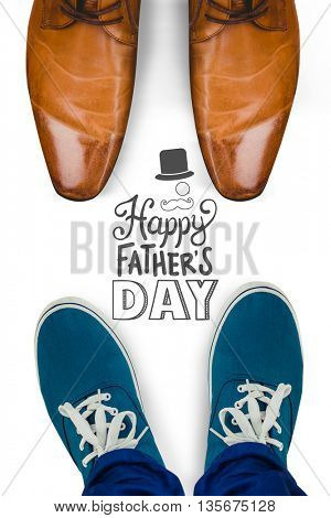 Man with canvas shoes on hardwood floor against fathers day greeting