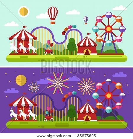 Flat design vector day and night landscape illustration of carnival or amusement park with air balloons, sky full of firework lights, carousel, ferris wheel, roller coasters. Festival concept.