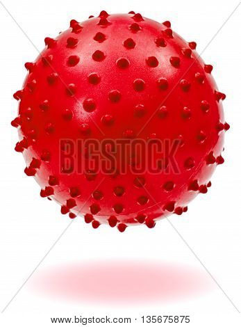 Children's red ball with shadow isolated on white background
