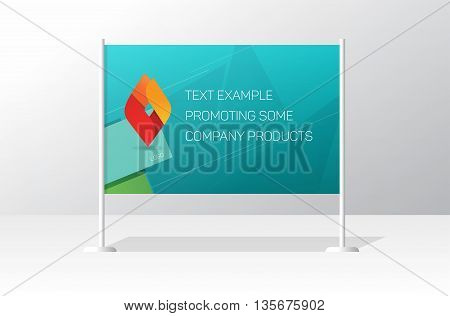 Advertising stand board banner template, sign board mockup, advertisement signboard presentation with identity brand example design, modern billboard vector illustration isolated