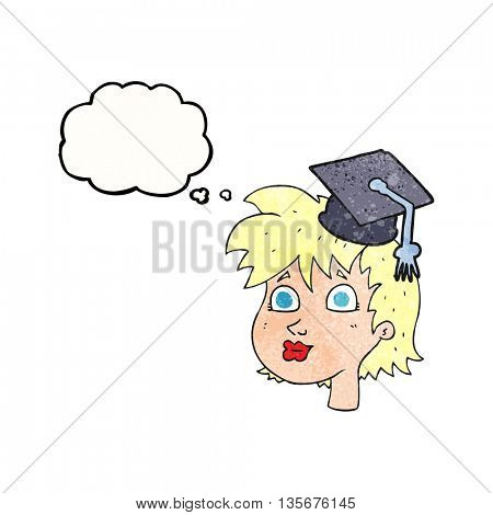 freehand drawn thought bubble textured cartoon woman wearing graduate cap