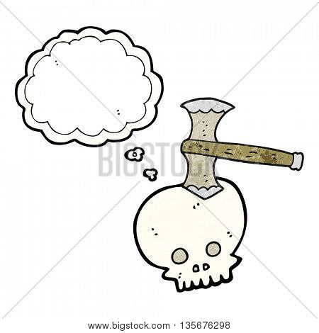 freehand drawn thought bubble textured cartoon axe in skull