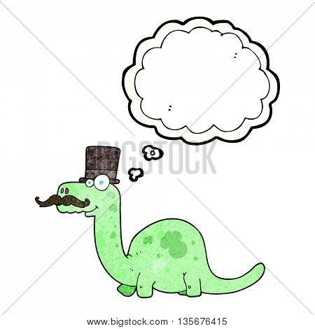 freehand drawn thought bubble textured cartoon posh dinosaur