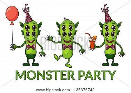 Set of Cute Green Cartoon Monsters, Colorful Toy Characters in Holiday Caps with Balloon and Juice, Smiling and Dancing, Elements for your Party Design, Prints and Banners, Isolated on White. Vector