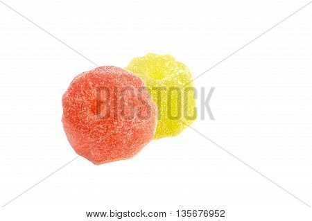 Jelly candies on white background. Gummy candy on a white background.