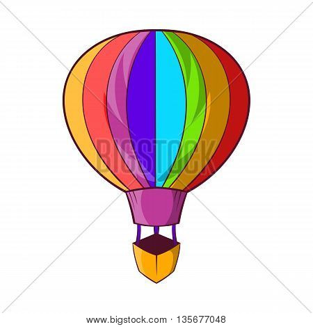 Striped multicolored aerostat balloon icon in cartoon style on a white background