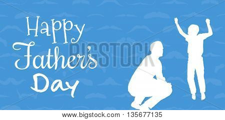 Happy fathers day against blue background