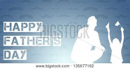 Happy fathers day against wooden planks background