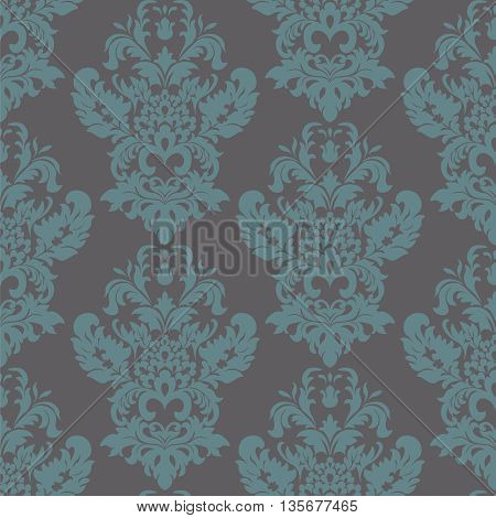 Vintage Classic Damask acanthus leaf ornament element. Luxury texture for backgrounds and invitation cards. arctic blue color. Vector