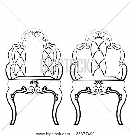 Elegant Leather quilted chairs with ornaments in neoclassic style. Vector