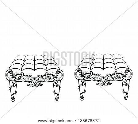 Chair Furniture in classic rococo style ornament. Vector sketch