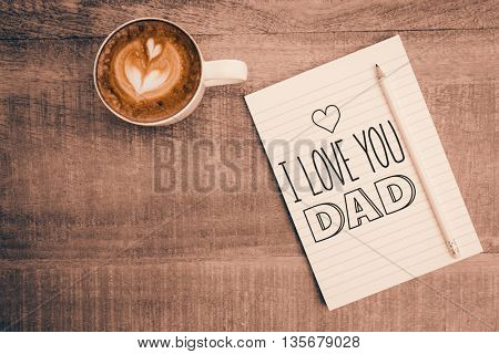 fathers day greeting against above view of paper and a smartphone