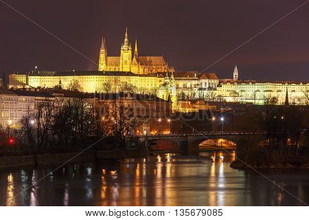 Prague Castle, Charles Bridge and the Little Quarter at night, Prague, Czech Republic.