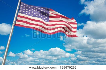 Low angle view of American flag against scenic view of blue sky