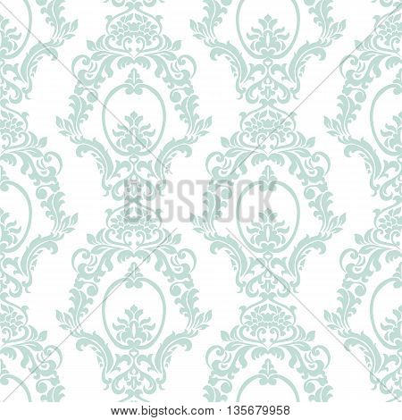 Vector Vintage Damask Pattern ornament Imperial style. Ornate floral element for fabric textile design wedding invitations greeting cards. Opal blue color
