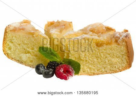 Several pieces of apple pie in powdered sugar isolated on a white background.