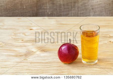 Glass Of Apple Juice On Wooden Background, Copyspace