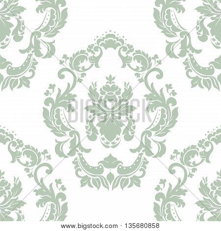 Floral ornament pattern with stylized centered lilies flowers . Elegant luxury texture for backgrounds and invitation cards. Green olive lint color and white. Vector