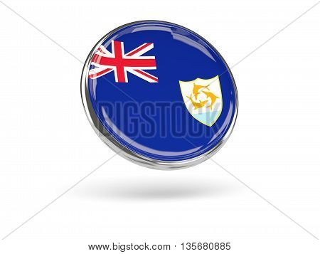Flag Of Anguilla. Round Icon With Metal Frame