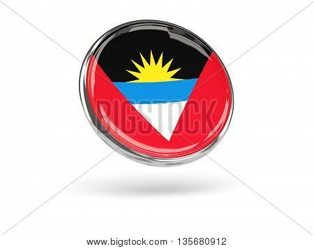 Flag Of Antigua And Barbuda. Round Icon With Metal Frame
