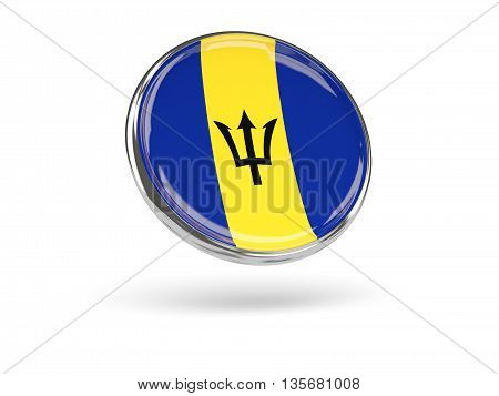 Flag Of Barbados. Round Icon With Metal Frame