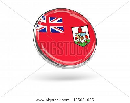 Flag Of Bermuda. Round Icon With Metal Frame