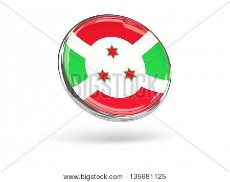Flag Of Burundi. Round Icon With Metal Frame