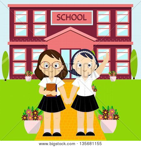 Happy kids going to school vector illustration of school building and students