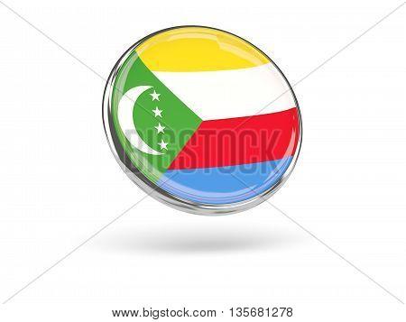 Flag Of Comoros. Round Icon With Metal Frame
