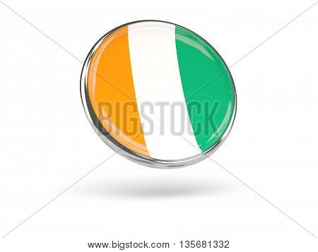 Flag Of Cote D Ivoire. Round Icon With Metal Frame