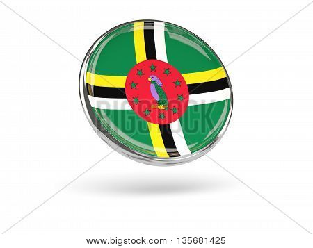 Flag Of Dominica. Round Icon With Metal Frame