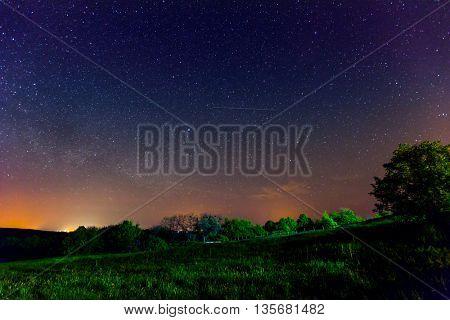 night scene in steppe under sky of stars