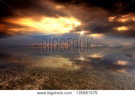 majestic sunset scene over shallow water in lake